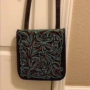 Patricia Nash tooled leather turquoise purse